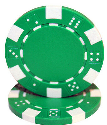 Striped Dice 11.5G poker chips - GREEN - 50 pieces
