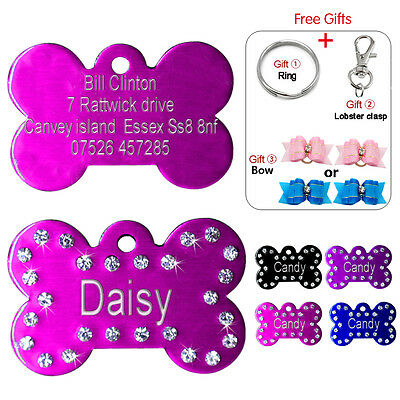 Personalised Dog Tags Engraved Pet Puppy Cat Name ID Tag Bling Bone Free Gifts