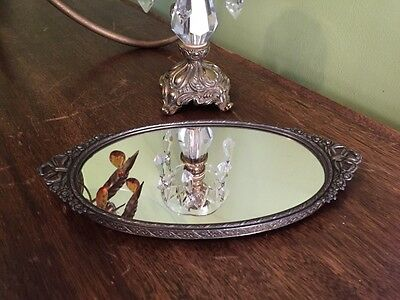 Vintage Vanity Tray Mirror Ornate Metal French Style