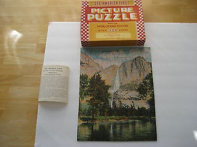 """Vintage See America First Picture Puzzle """"yosemite Falls Yosemite National Park"""""""