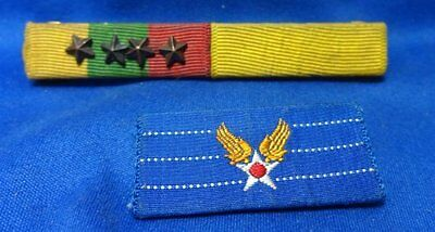WWII Civilian In Army Air Corps and Army or USMC Ribbon Bars With 4 Stars