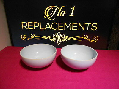 "2 x Denby Blue Linen Rice Bowls 5"" 1st Quality Several Sets Available"