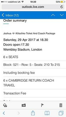 Anthony Joshua V Klitschko Tickets And Coach Package From Cambridge 6 Tickets