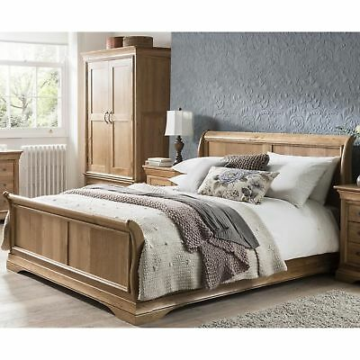 Lourdes solid oak french furniture 4'6 double bedroom sleigh bed