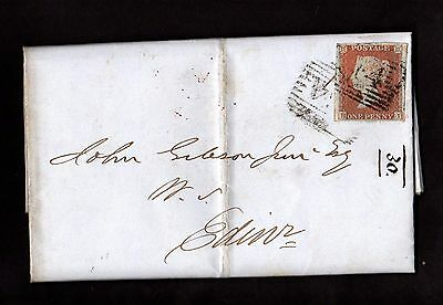 Stamps ~ VICTORIAN PENNY RED Entire NAIRN to EDINBURGH Scotland ~ 1848