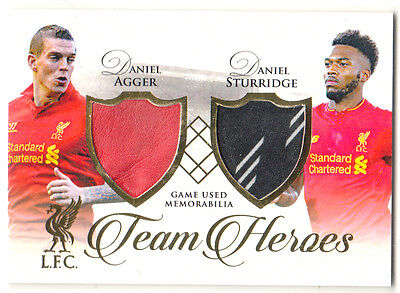 2016 Futera Unique Liverpool TH01 Agger Sturridge Team Heros Dual Patch #28/32