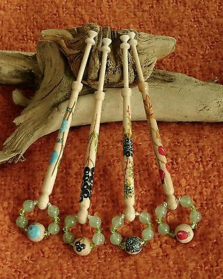 Handpainted Lace Bobbins With A Hedgerow Theme