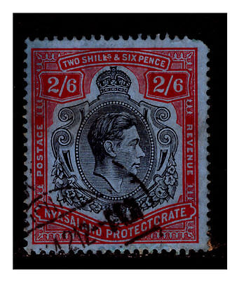 Nyasaland KGVI 1938-44 2/6s Black & Red On Blue, SG140. Used.  #470