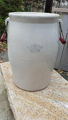 Authentic Robinson Ransbottom Antique 5 Gallon Crock Red Bail Handles Unusual