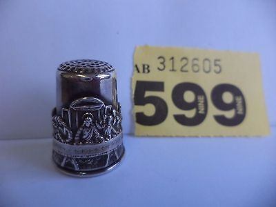 Vintage Israel .925 Solid Silver Pictorial Thimble with The Last Supper Decor