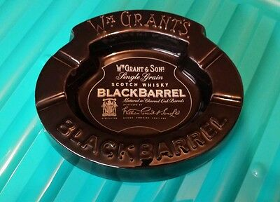 VINTAGE Wm GRANT'S BLACK BARREL ASHTRAY LOVELY CONDITION 5 PHOTO'S