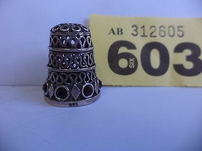 Vintage Scandinavian / Euro .925 Solid Silver Thimble with Red Stone Decoration