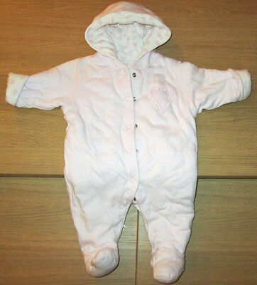 Mothercare Girls  Heart Lightweight Pramsuit - All in One  - Tiny Baby 7.5lbs