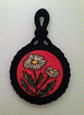 Cast Iron and Tile Trivet Red Black Daisy Floral