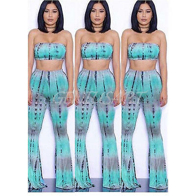 Tie Dye Flared Trousers High Waist Women Long Pants Trousers with Crop Top