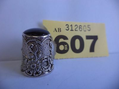 Vintage .925 Solid Silver Thimble with Floral Decoration & Onxy Stone Top