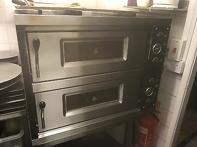 Pizza Oven 2 Deck Electric with Stainless Steel Table