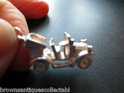 Vintage Silver Charm Large Old Uk Sterling Antique Classic Car Fob Charm Pendant