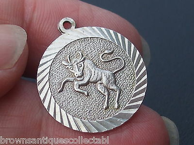 Vintage Silver Charm English Sterling Taurus Bull Bracelet Fob Pendant Star Sign