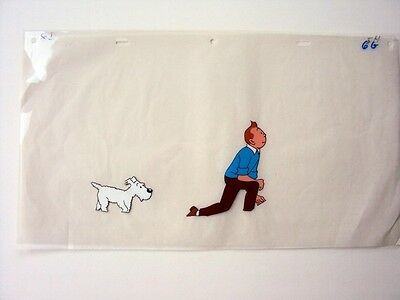 Tintin and Snowy advertising film cell produced by Belvision