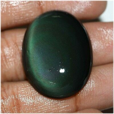 30.2 Ct NATURAL FINEST BLACK RAINBOW OBSIDIAN OVAL CABOCHON LOOSE GEMSTONE