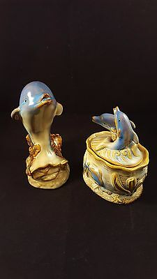Ceramic Dolphins - Figurine and Covered Box - Blue and Brown Glazed