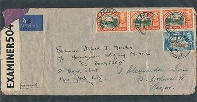 WW2 1941 AIR MAIL Censored OPENED BY CENSOR Trinidad to SS BORGFRED
