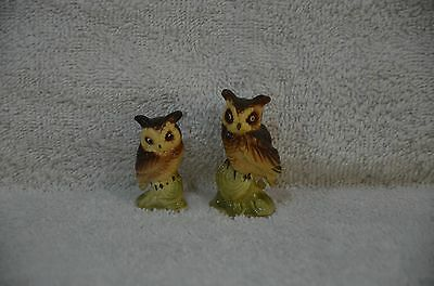 """Set of Two Vintage Porcelain Owl Figurines -2"""" tall"""
