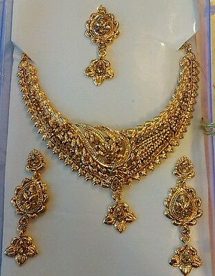 Sale!!Bollywood Indian  Bridal Gold Jewellery  Choker Necklace earrings set.UK