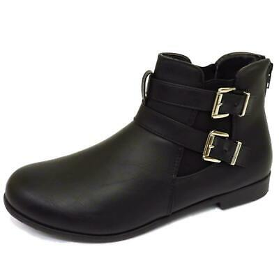 Womens Flat Black Zip-Up Chelsea Biker Smart Work Comfy Ankle Boots Shoes 3-9