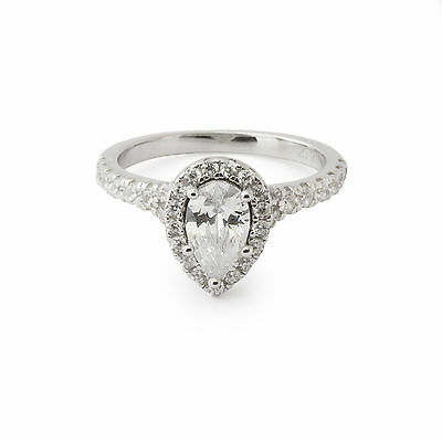 Argent Sterling 925 Ovale Opale Blanc Zircone cubique Pave Halo élégant Cocktail Band Ring 6.75
