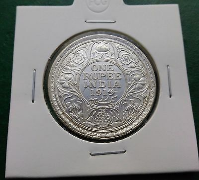 """One Rupee 1919 George V Silver Coin - British India """"high Details"""""""