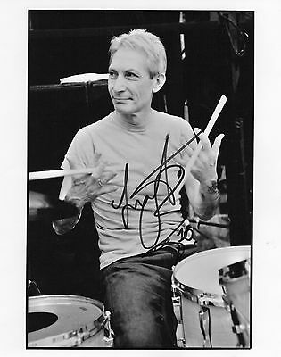 Authentic Signed Charlie Watts 10 X 8 Rolling Stones Photo..real Signature..coa