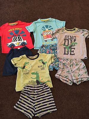 Four Pairs Of Baby Boy Summer Pyjamas Age 12-18 Months