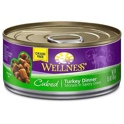 Wellness Natural Canned Grain Free Wet Cat Food, Cubed Turkey, 5.5-Ounce Can (Pa