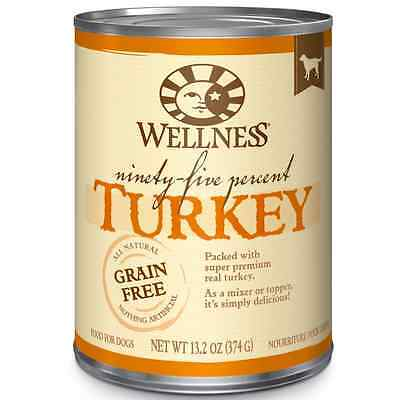 Wellness 95% Turkey Natural Wet Grain Free Canned Dog Food, 13.2-Ounce Can (Pack