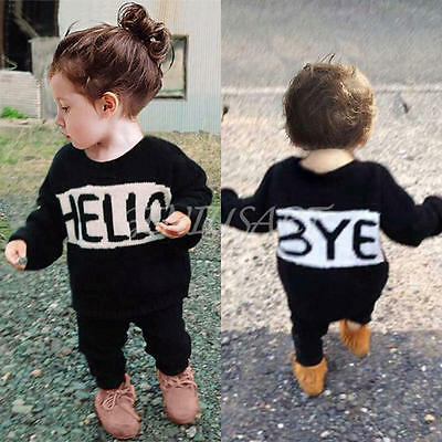 Baby Toddler Kids Letter Printing T-Shirt Tops+ Pants Outfits 2PCS Clothes 90cm
