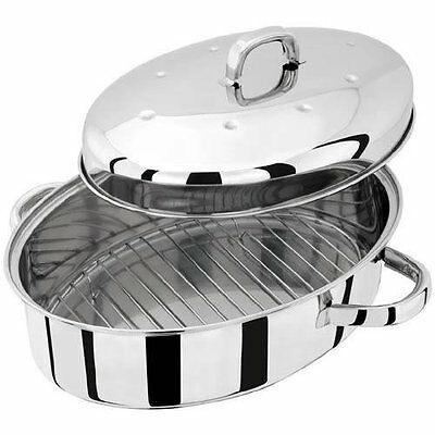 Judge TC120 High Oval Stainless Steel Self Basting Roaster, 32cm x 22cm High
