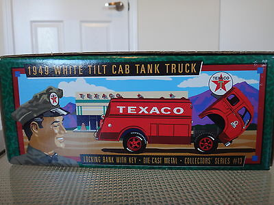 TEXACO 1949 White Tilt Cab Tank Truck Coin Bank New In Box