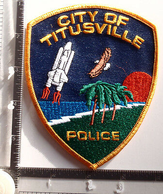 Titusville FL POLICE Patch FLORIDA Space Shuttle Eagle Beach Sun Trees