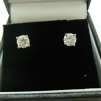18ct White Gold .60 Carat Diamond Solitaire Stud Earrings Butterfly Backs