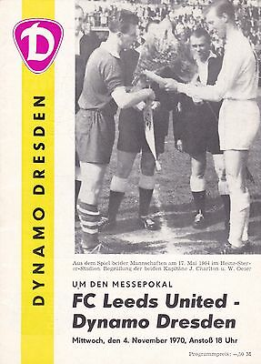 1970/71 FAIRS CUP Dynamo Dresden v Leeds United ***EXCELLENT CONDITION***