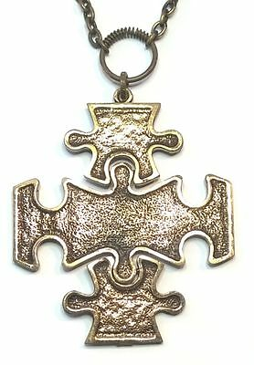 """Pentti Sarpaneva Finland Vintage Bronze Necklace from """"Puzzle"""" Collection Signed"""