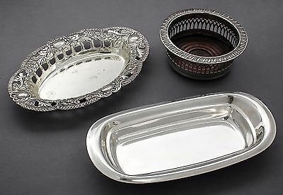 Vintage silver plate lot 3 dishes/bowls pierced bottle holder ornate trinket