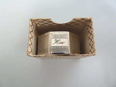 Boxed Solid SILVER Engine Turned Napkin RING Engraved 'Huw'. Birm 1959. J Rose