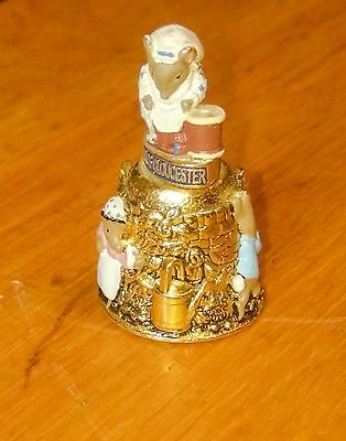Beatrix Potter The Tailor of Gloucester  Gilded and hand painted Thimble