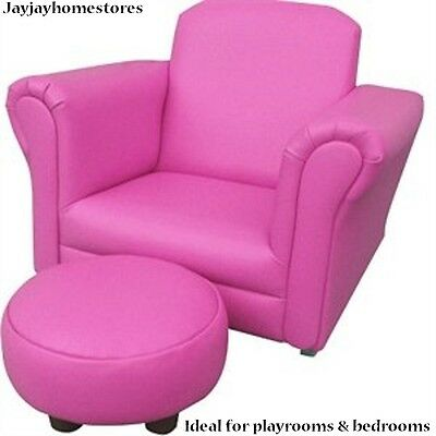 Leather rocking Chair Armchair Kids Childrens with FREE Footstool  - Baby Pink