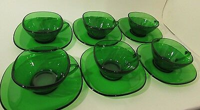 Vintage Vereco Green Glass Tea Coffee Cups and Saucers Modernist