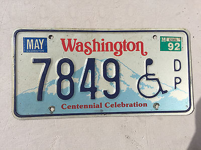 "1992 Washington Handicapped License Plate "" 7849 "" Wa 92 Wheelchair Disabled"
