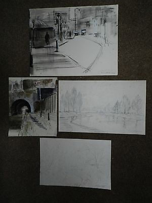 4 Original rare vintage drawings hand signed L. S. Lowry 1928 /29 Not lithograph